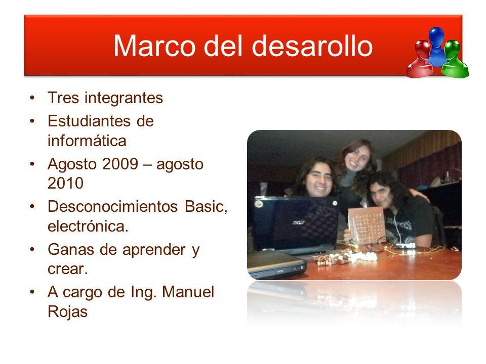 Marco del desarollo Tres integrantes Estudiantes de informática