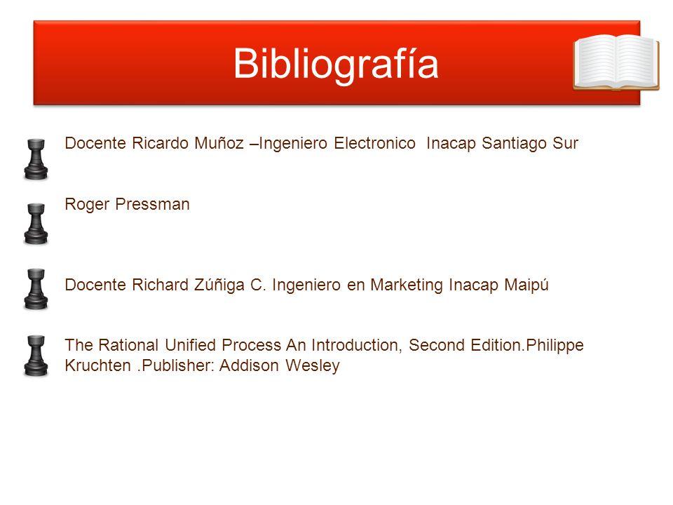 Bibliografía Docente Ricardo Muñoz –Ingeniero Electronico Inacap Santiago Sur. Roger Pressman.