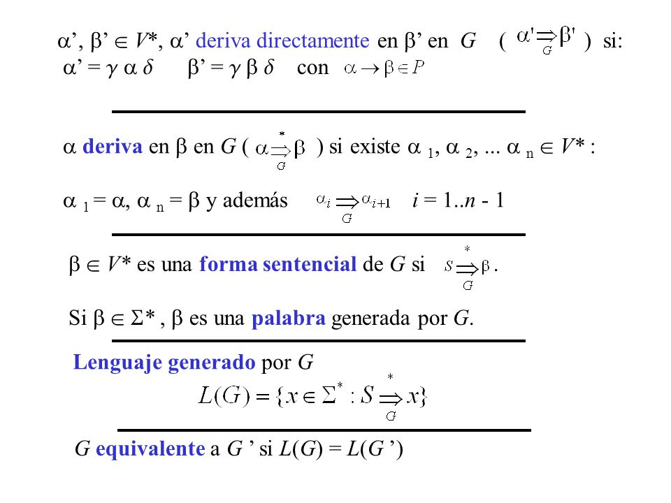 ', '  V*, ' deriva directamente en ' en G ( ) si: