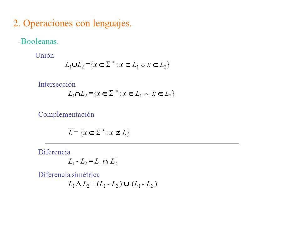 2. Operaciones con lenguajes.
