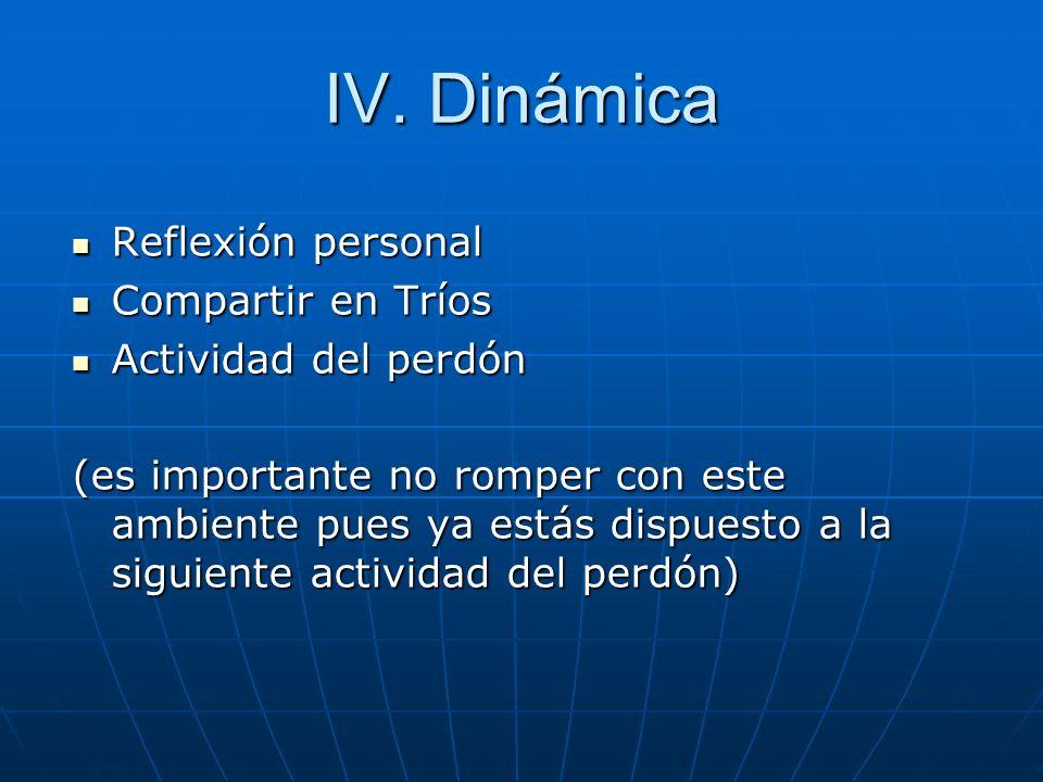 IV. Dinámica Reflexión personal Compartir en Tríos