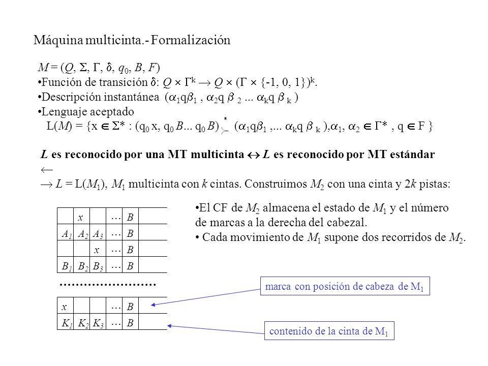 Máquina multicinta.- Formalización