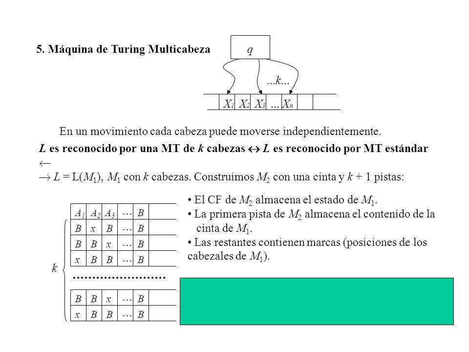 ... ... ... ... ... ... 5. Máquina de Turing Multicabeza q ...k... X1