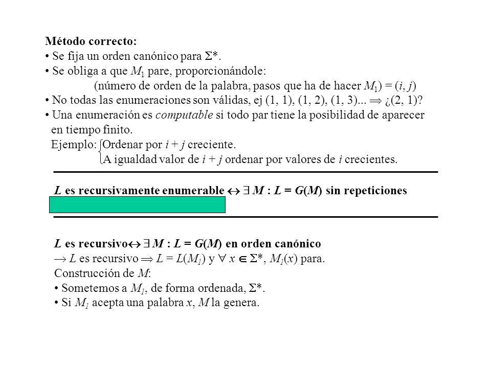 Método correcto: Se fija un orden canónico para *. Se obliga a que M1 pare, proporcionándole: