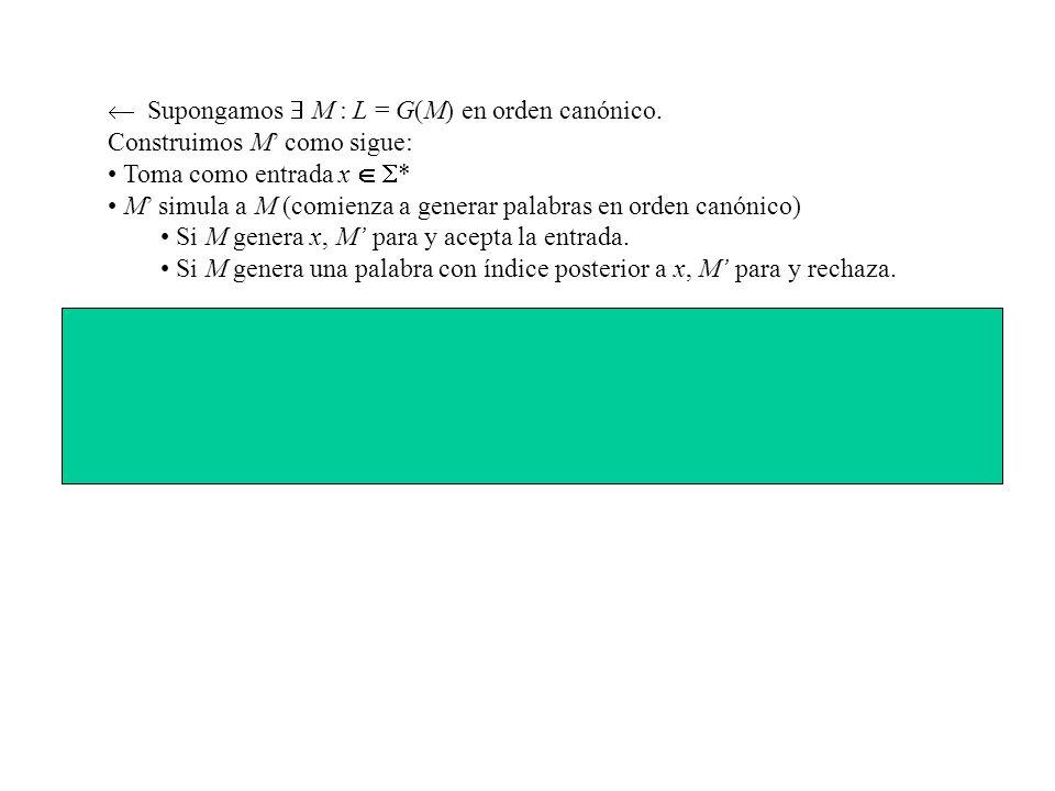  Supongamos  M : L = G(M) en orden canónico.