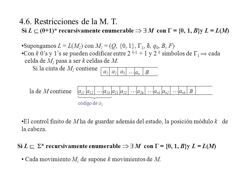 4.6. Restricciones de la M. T. Si L  (0+1)* recursivamente enumerable   M con  = {0, 1, B}y L = L(M)