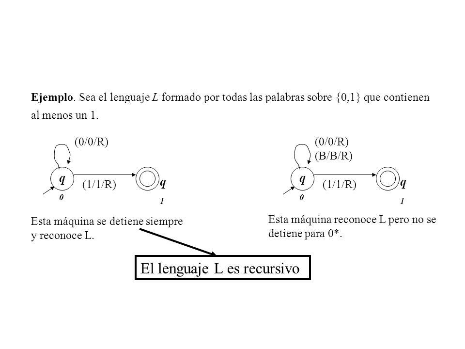El lenguaje L es recursivo