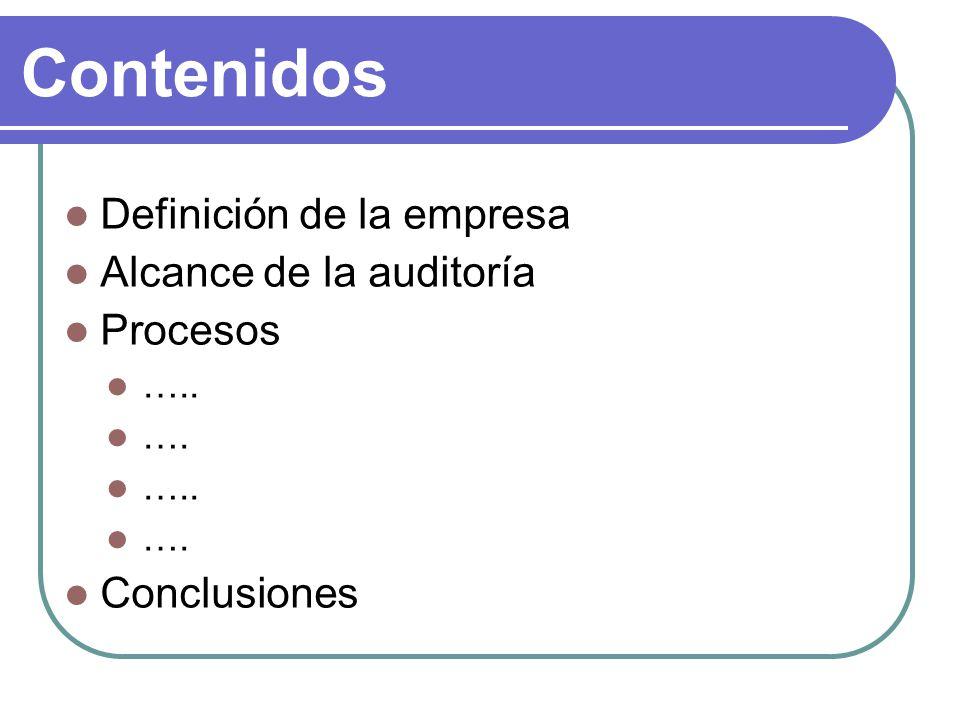 Contenidos Definición de la empresa Alcance de la auditoría Procesos