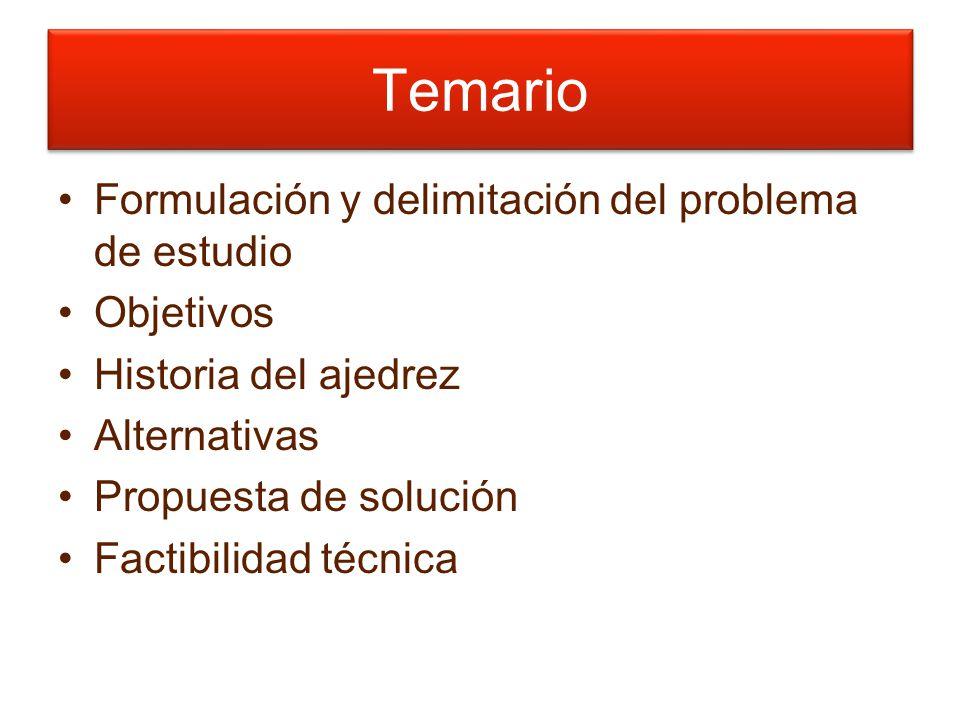 Temario Formulación y delimitación del problema de estudio Objetivos