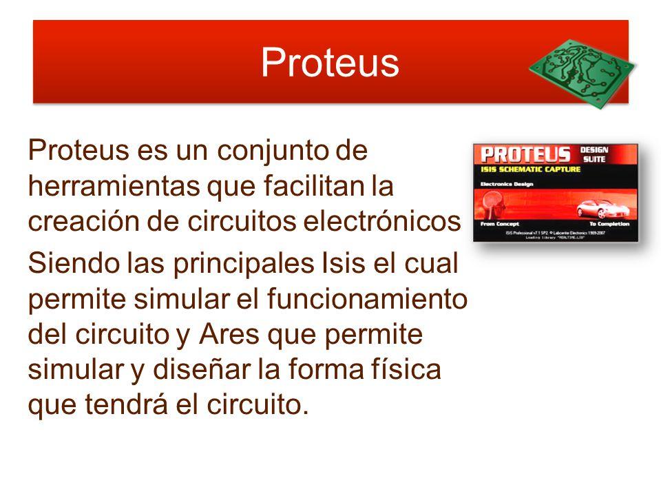 Proteus Proteus es un conjunto de herramientas que facilitan la creación de circuitos electrónicos.