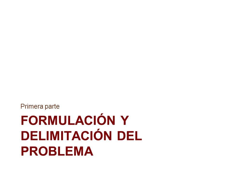 Formulación y delimitación del problema