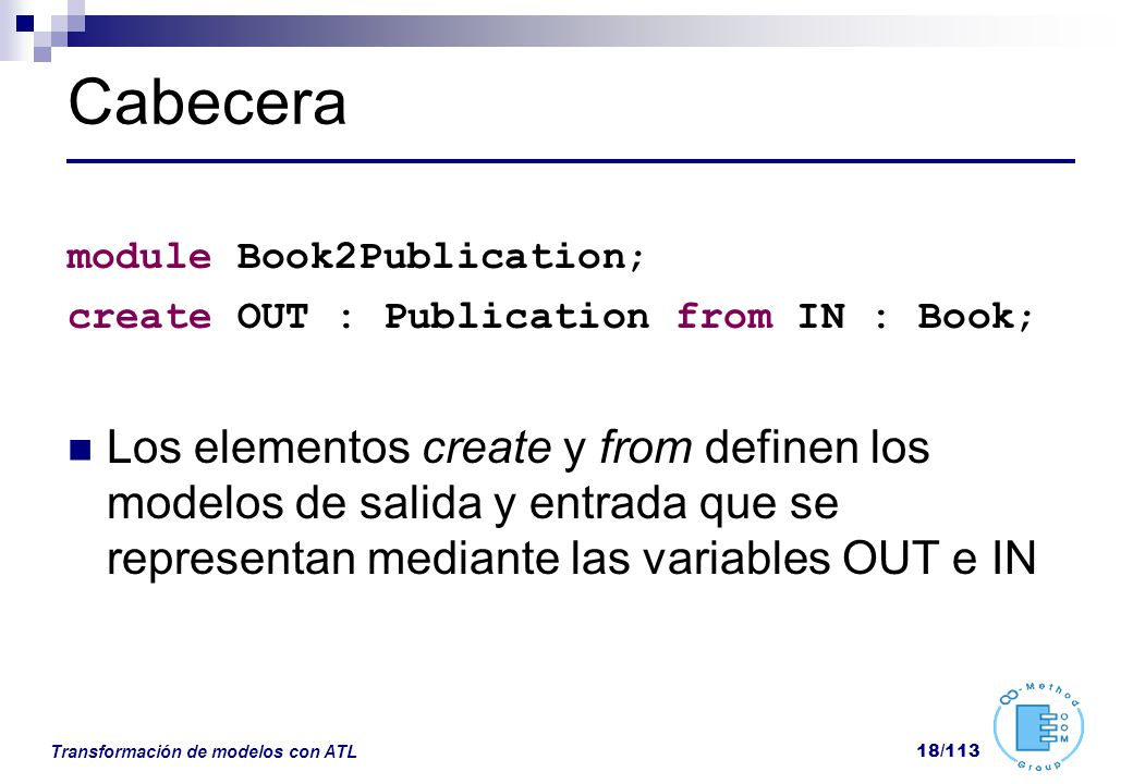 Cabecera module Book2Publication; create OUT : Publication from IN : Book;
