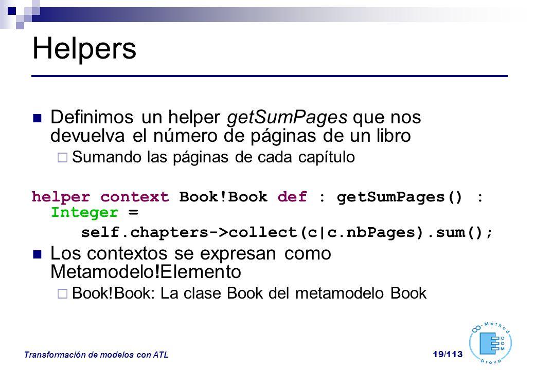 Helpers Definimos un helper getSumPages que nos devuelva el número de páginas de un libro. Sumando las páginas de cada capítulo.