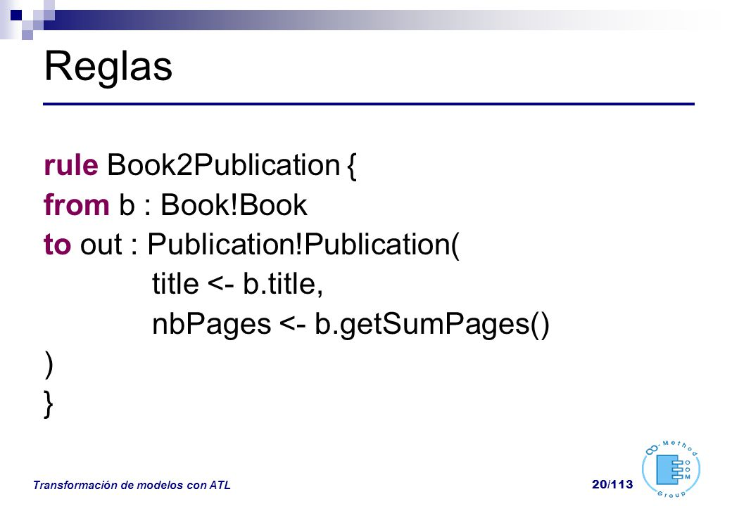 Reglas rule Book2Publication { from b : Book!Book