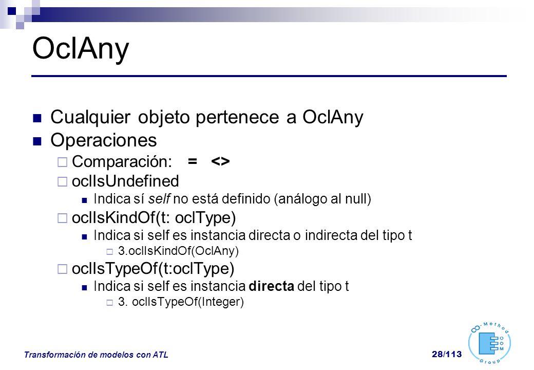 OclAny Cualquier objeto pertenece a OclAny Operaciones
