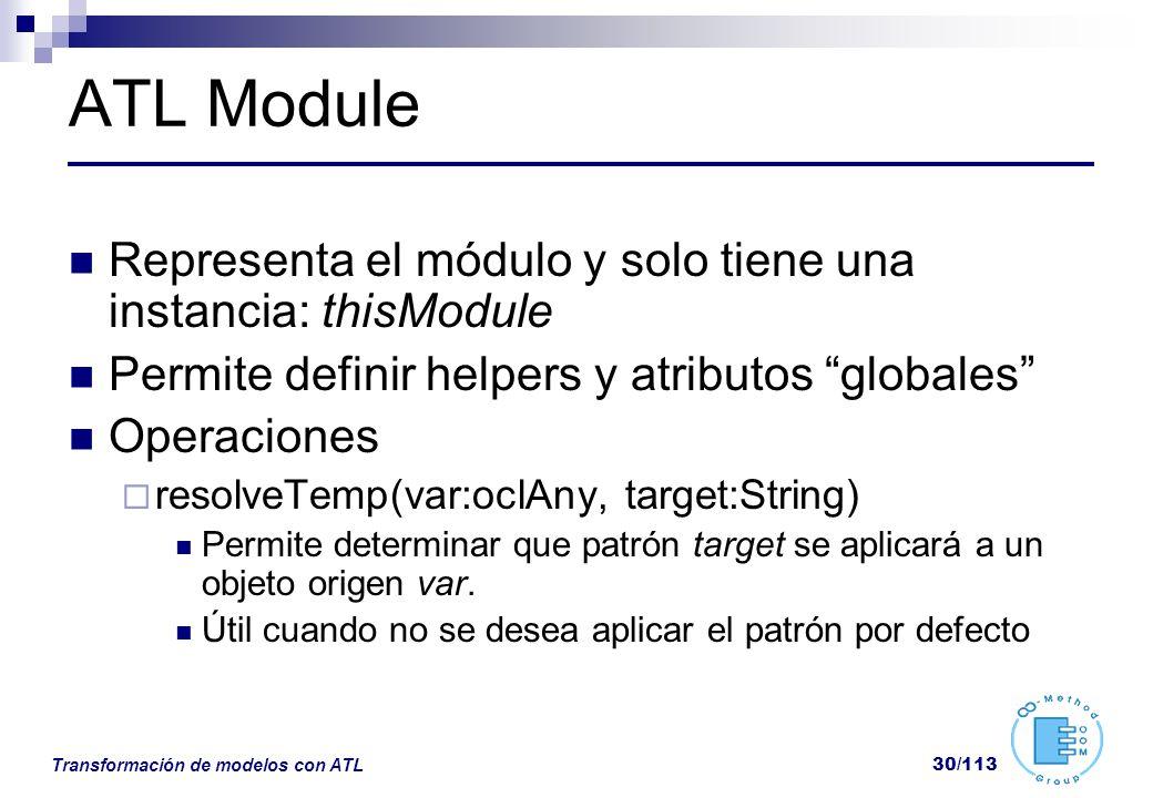 ATL Module Representa el módulo y solo tiene una instancia: thisModule