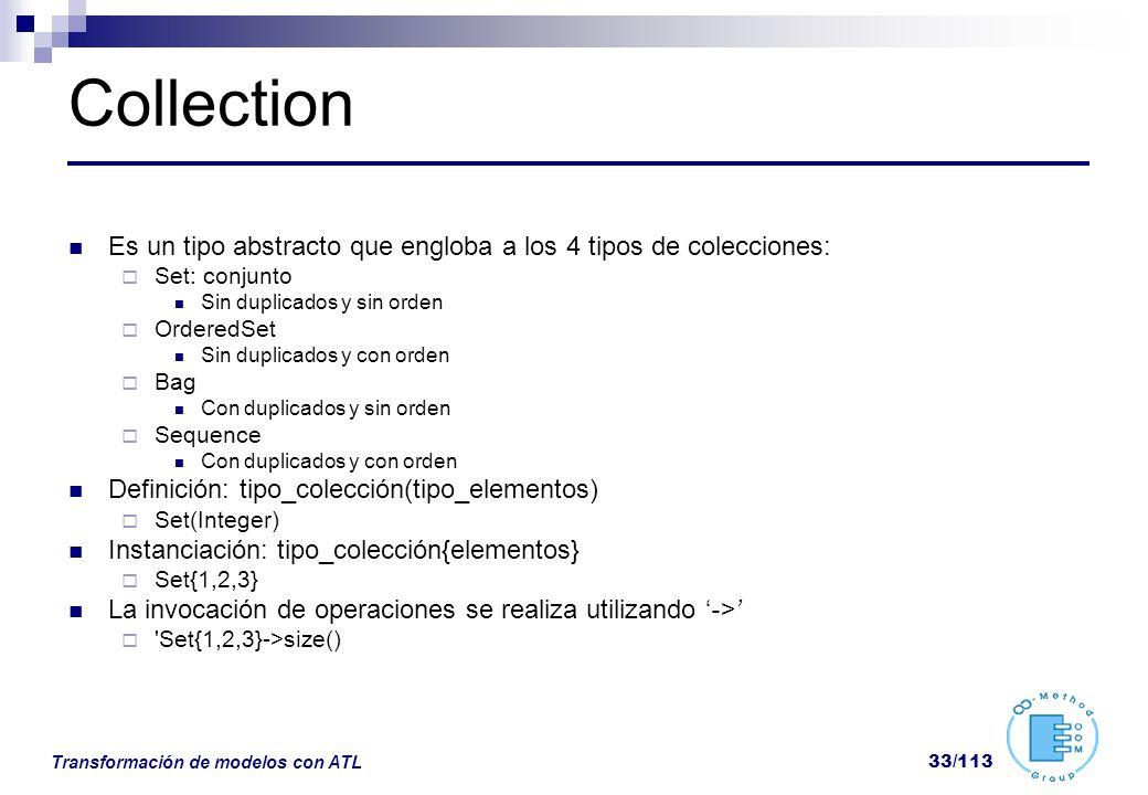 Collection Es un tipo abstracto que engloba a los 4 tipos de colecciones: Set: conjunto. Sin duplicados y sin orden.