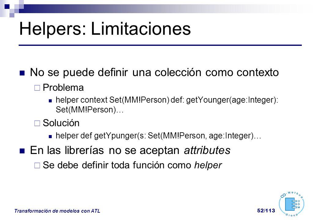 Helpers: Limitaciones