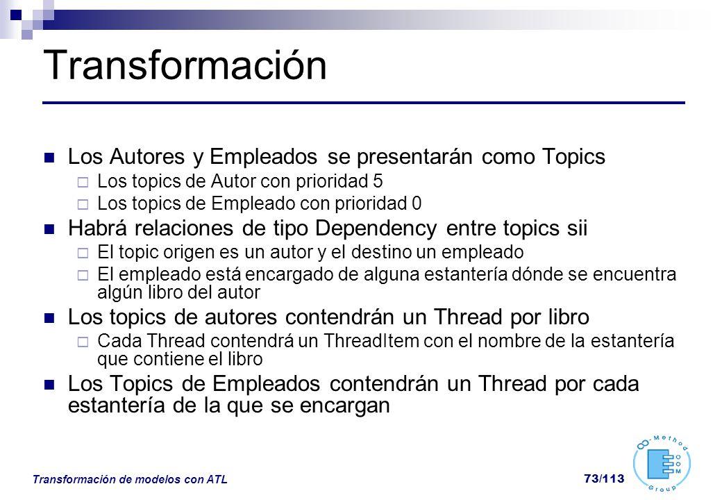 Transformación Los Autores y Empleados se presentarán como Topics