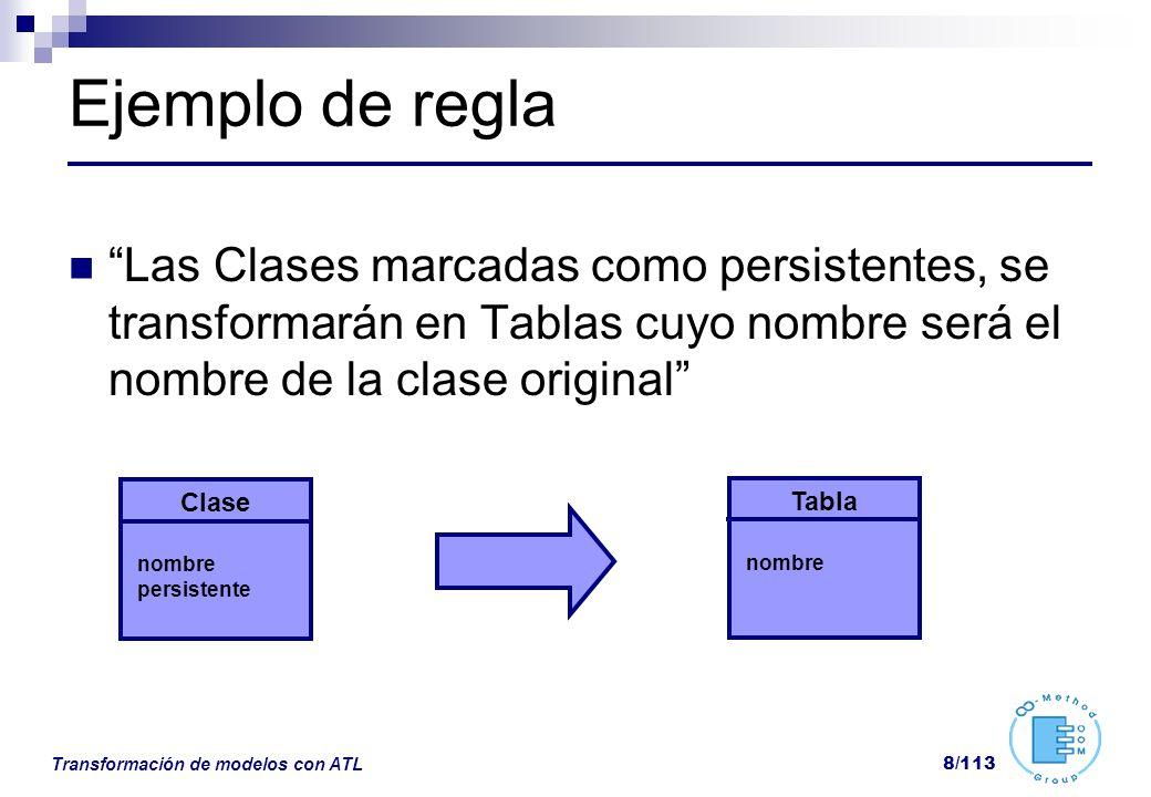 Ejemplo de regla Las Clases marcadas como persistentes, se transformarán en Tablas cuyo nombre será el nombre de la clase original