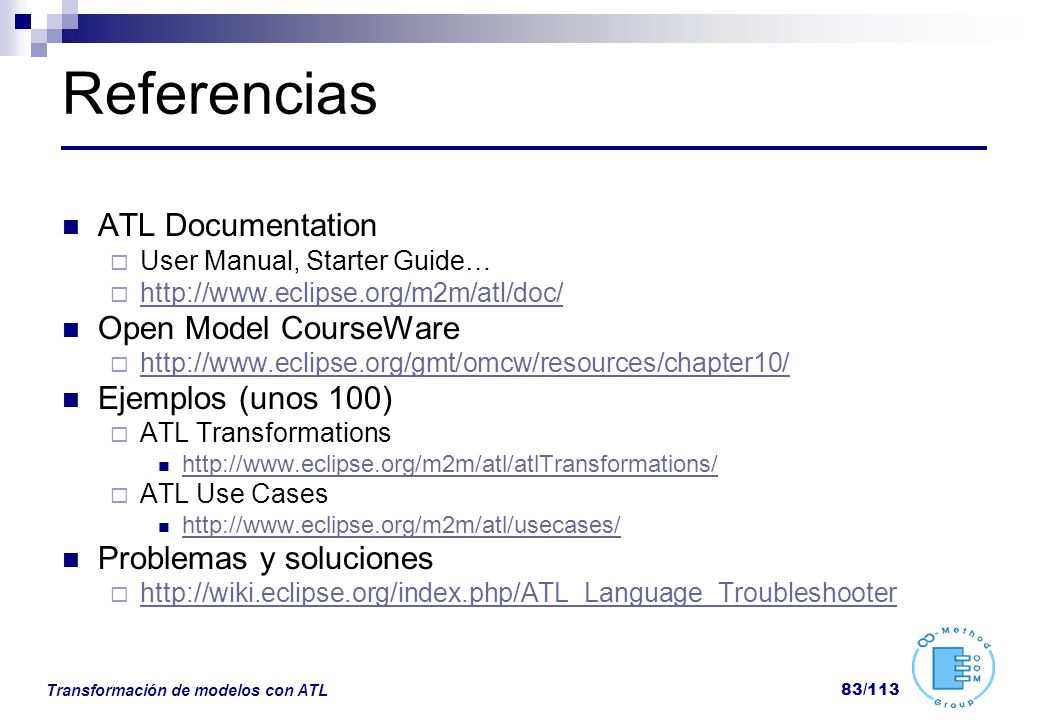 Referencias ATL Documentation Open Model CourseWare