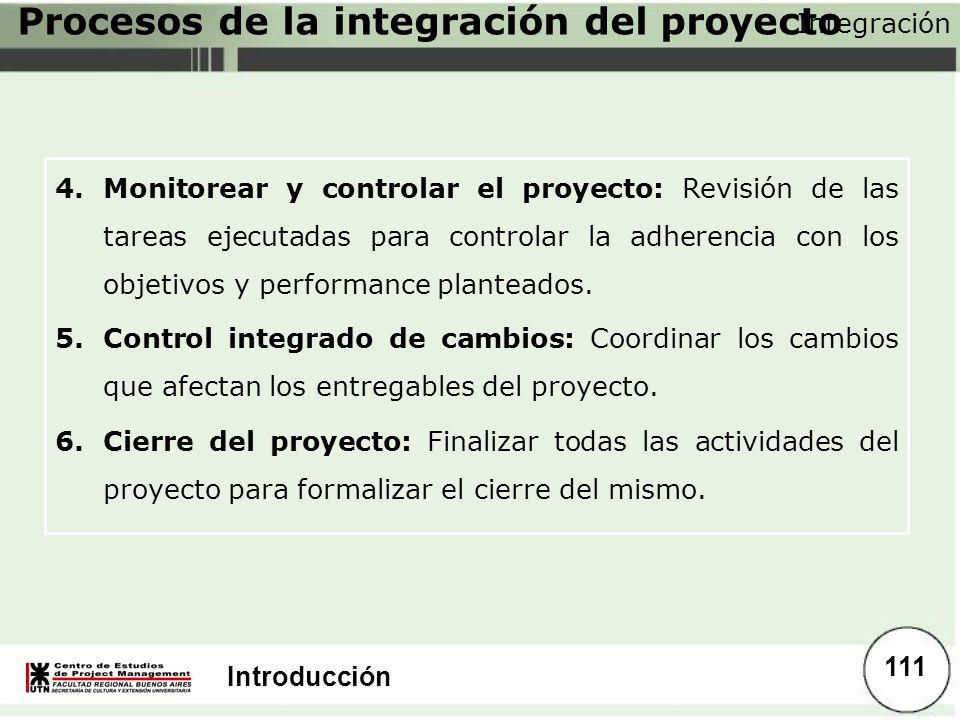 Procesos de la integración del proyecto