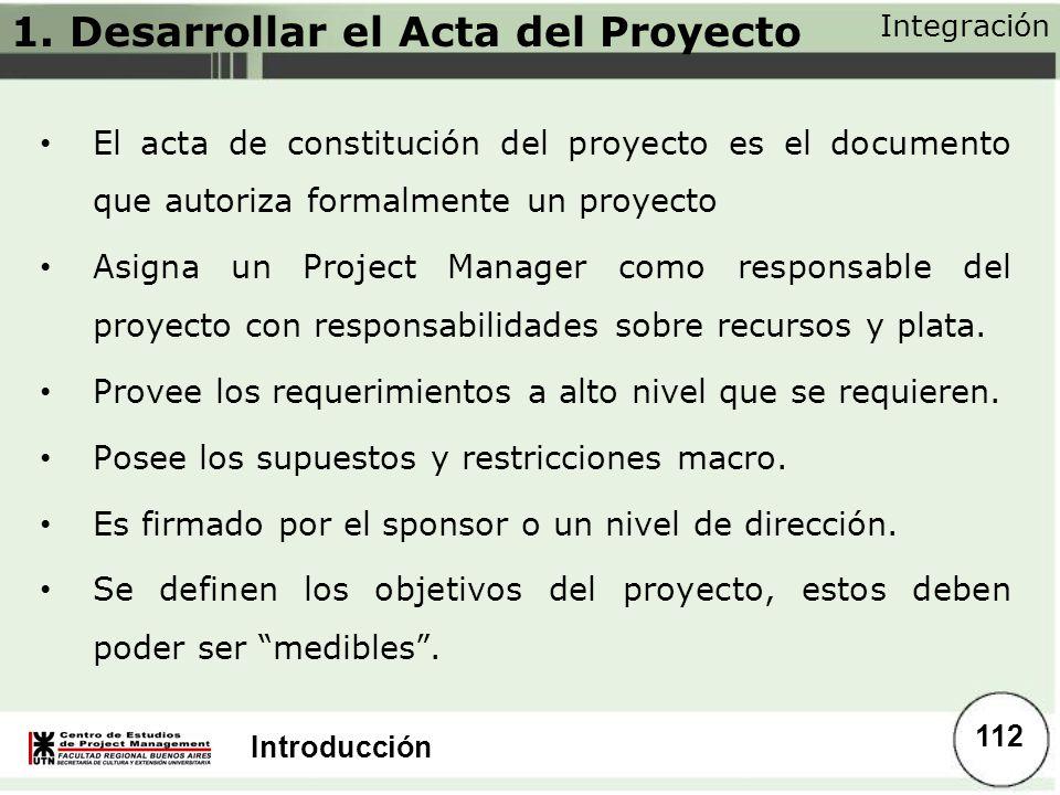1. Desarrollar el Acta del Proyecto