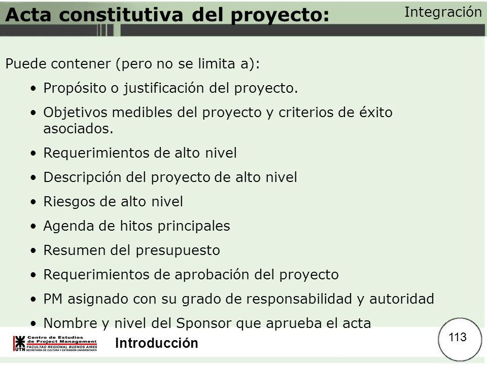 Acta constitutiva del proyecto:
