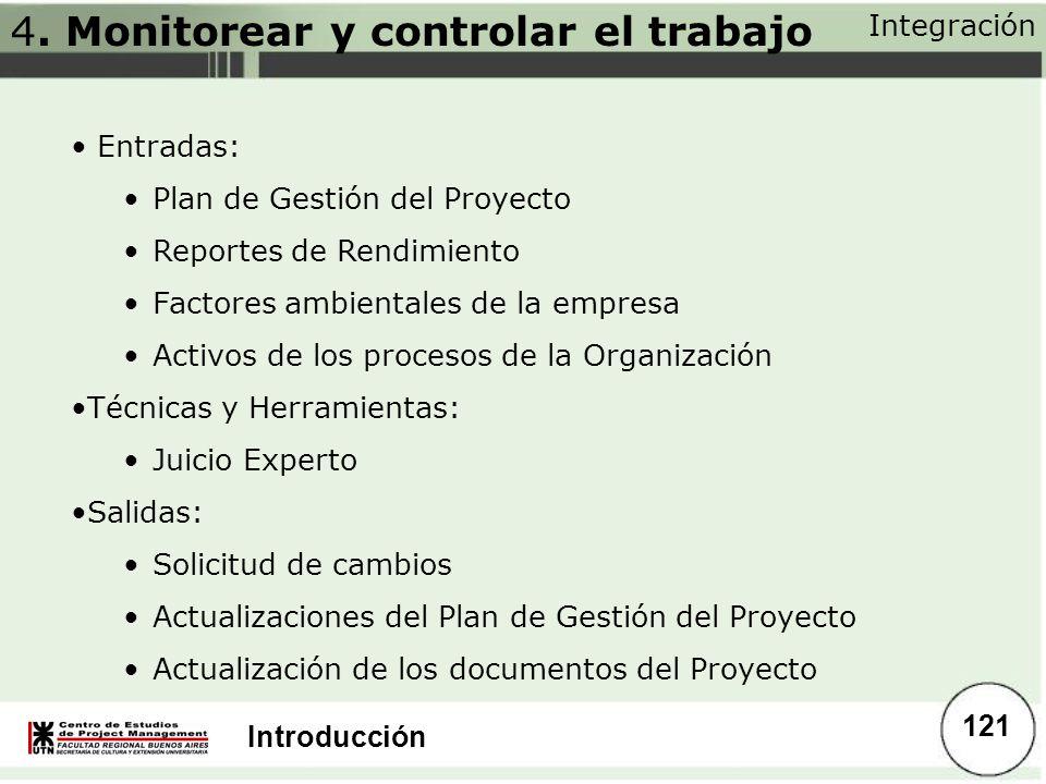 4. Monitorear y controlar el trabajo