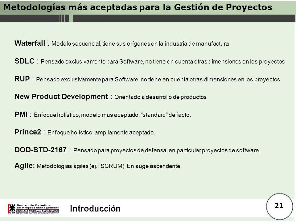 Metodologías más aceptadas para la Gestión de Proyectos