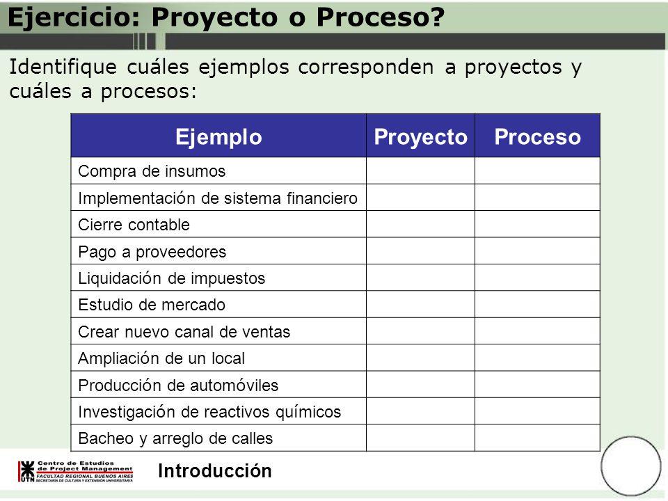 Ejercicio: Proyecto o Proceso