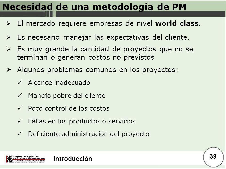Necesidad de una metodología de PM