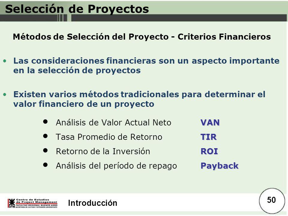 Métodos de Selección del Proyecto - Criterios Financieros