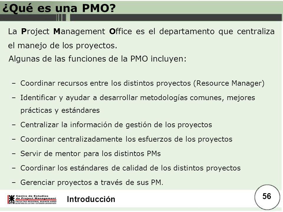 ¿Qué es una PMO La Project Management Office es el departamento que centraliza el manejo de los proyectos.