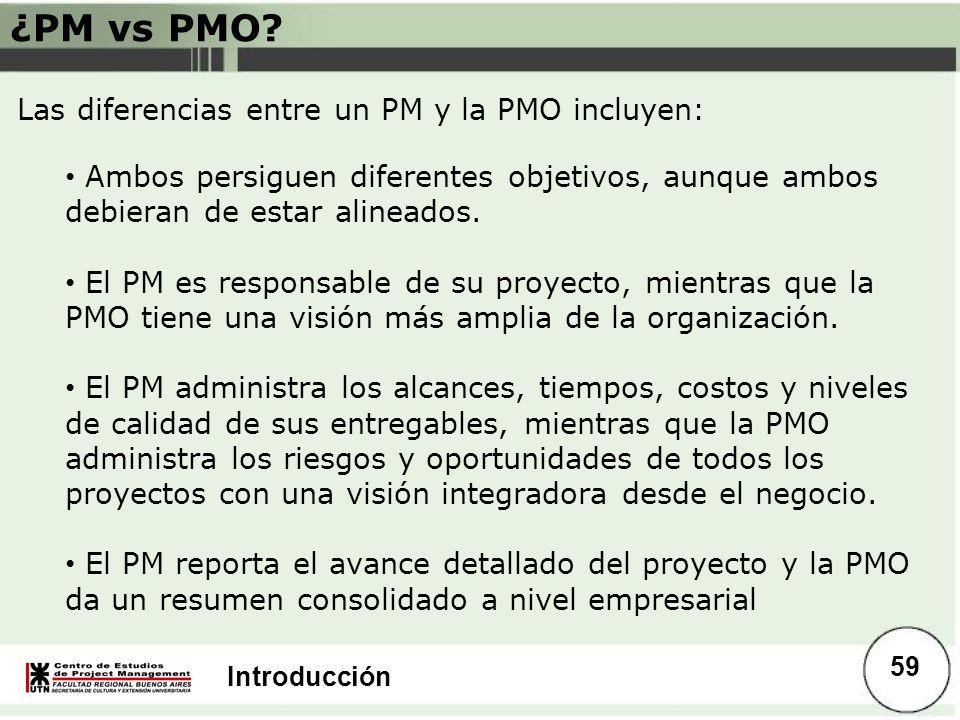 ¿PM vs PMO Las diferencias entre un PM y la PMO incluyen: