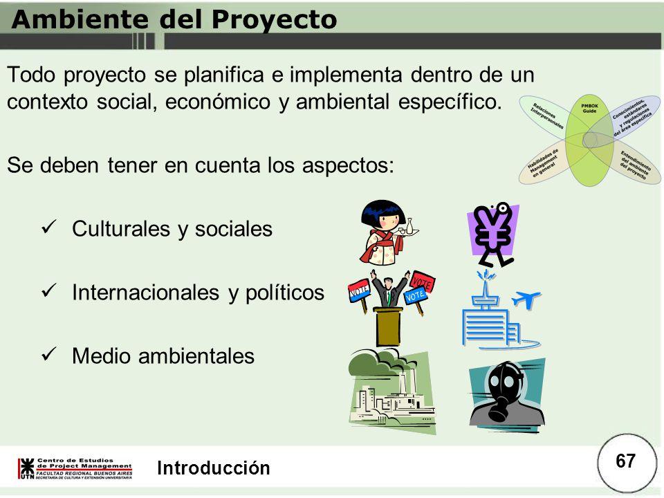 Ambiente del Proyecto Todo proyecto se planifica e implementa dentro de un contexto social, económico y ambiental específico.