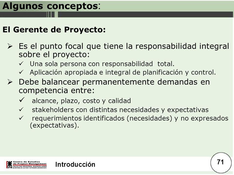 Algunos conceptos: El Gerente de Proyecto: