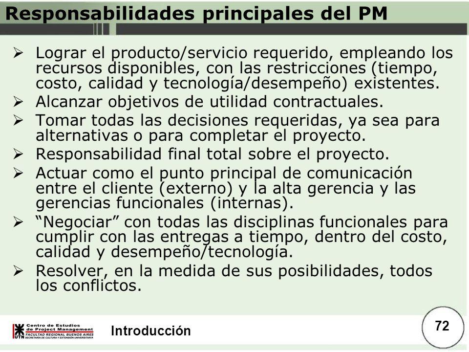 Responsabilidades principales del PM