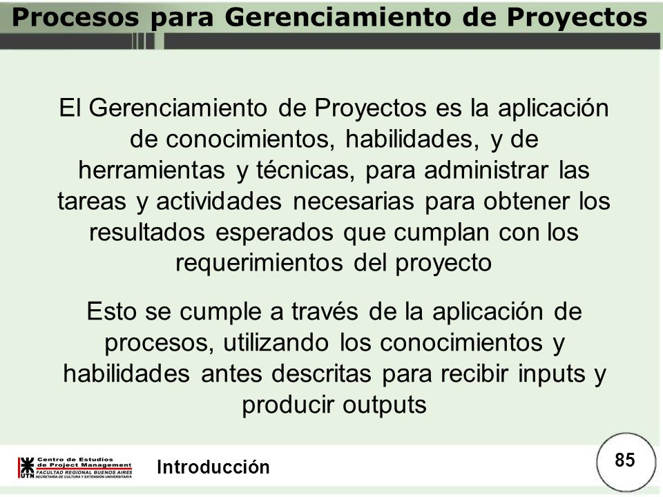 Procesos para Gerenciamiento de Proyectos