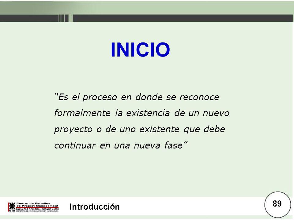 INICIO Es el proceso en donde se reconoce formalmente la existencia de un nuevo proyecto o de uno existente que debe continuar en una nueva fase