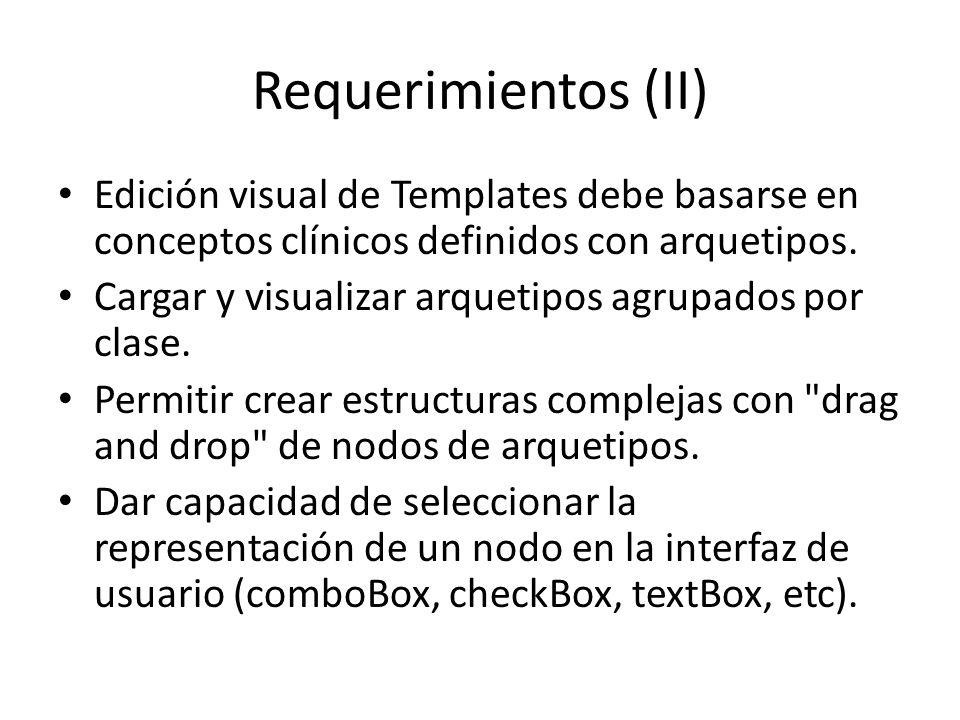 Requerimientos (II) Edición visual de Templates debe basarse en conceptos clínicos definidos con arquetipos.
