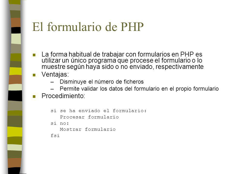 El formulario de PHP