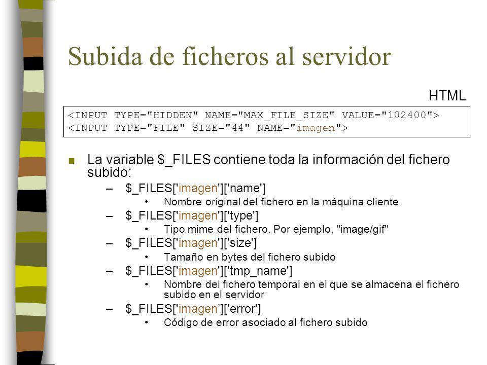 Subida de ficheros al servidor