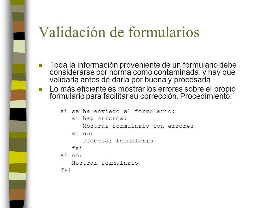 Validación de formularios