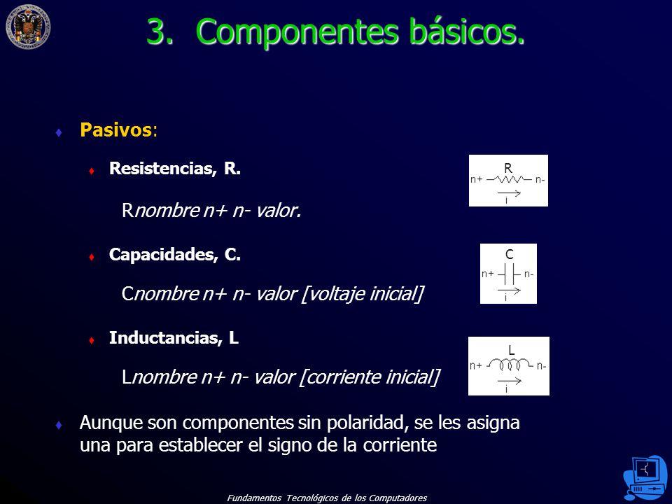 3. Componentes básicos. Pasivos: Rnombre n+ n- valor.