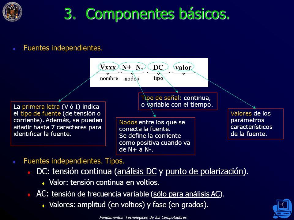 3. Componentes básicos. Fuentes independientes. Nodos entre los que se conecta la fuente.