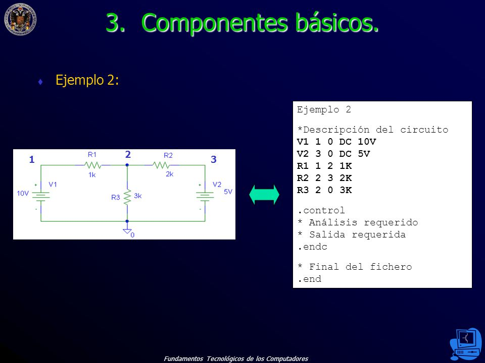 3. Componentes básicos. Ejemplo 2: Ejemplo 2 *Descripción del circuito