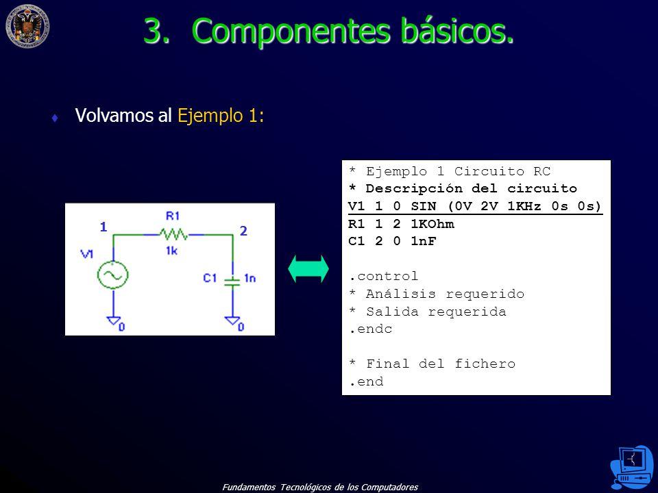 3. Componentes básicos. Volvamos al Ejemplo 1: * Ejemplo 1 Circuito RC