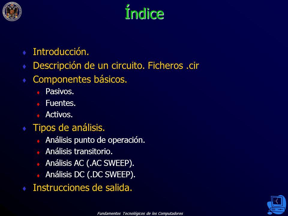 Índice Introducción. Descripción de un circuito. Ficheros .cir