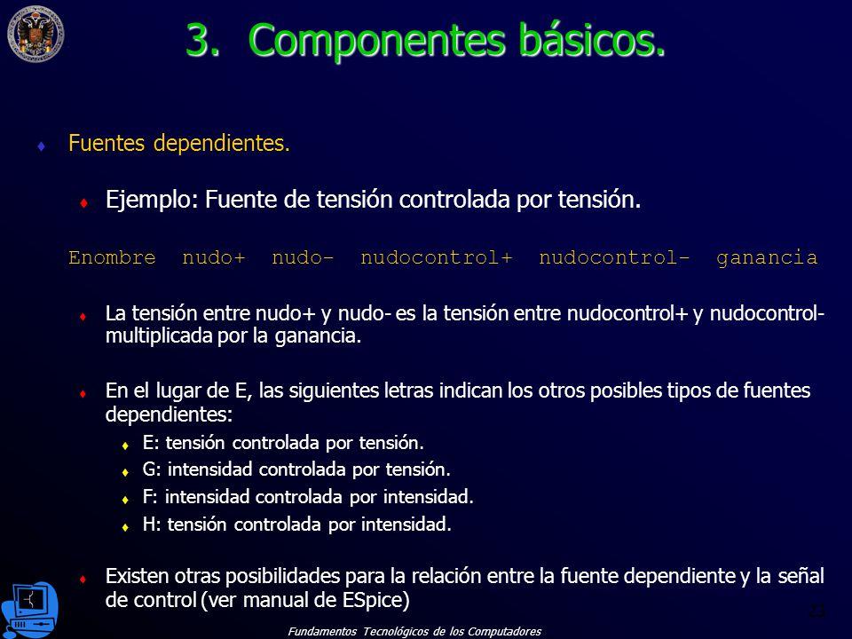 3. Componentes básicos. Fuentes dependientes. Ejemplo: Fuente de tensión controlada por tensión.
